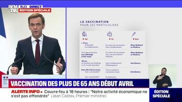 """Olivier Véran: """"Si vous avez entre 65 et 75 ans, vous accéderez à la vaccination quoiqu'il arrive d'ici le mois d'avril"""""""