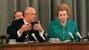 Margaret Thatcher avec le président de l'URSS Mikhail Gorbachev, le 8 juin 1990 à Moscou.