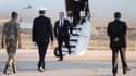 François Hollande, arrive sur la base militaire du Prince Hassan, à quelque 100 kilomètres de la capitale jordanienne Amman, le 19 avril 2016.