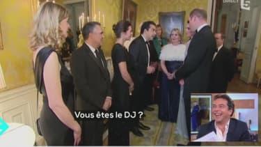 Patrick Cohen rencontrant le prince William et Kate Middleton à l'Elysée vendredi.