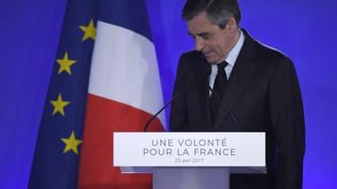 François Fillon à son QG de campagne, le 23 avril 2017.