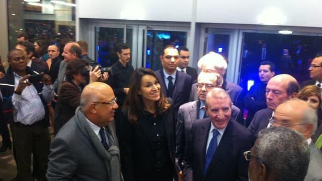 Les dirigeants d'UGC Alain Sussfeld et Guy Verrecchia avec la ministre de la culture Aurélie Filippetti en octobre 2013 lors de l'inauguration du multiplex d'UGC dans le 19ème arrondissement de Paris