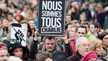 Manifestation en soutien à Charlie Hebdo à Lille le 10 janvier 2015.