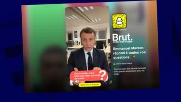 Emmanuel Macron répond à des jeunes sur Snapchat, lors d'un échange organisé par Brut