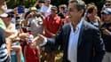 Nicolas Sarkozy le 22 juillet lors de son passage sur le tour de France, dans les Alpes.