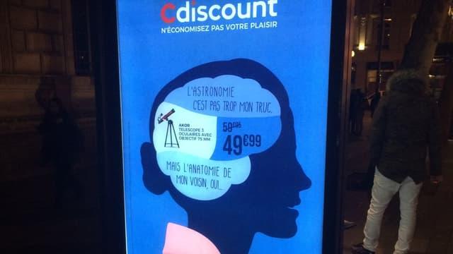 Une des affiches de la campagne de Cdiscount pour les soldes 2018.