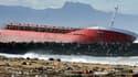 Le cargo échoué sur la plage, le 6 février 2014.
