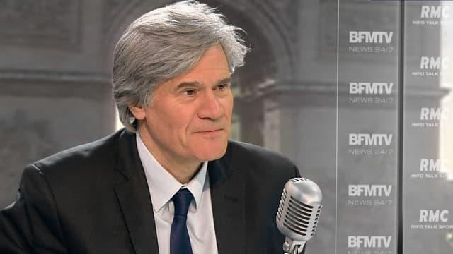 Stéphane Le Foll sur le plateau de BFMTV-RMC, le 12 mars 2015.