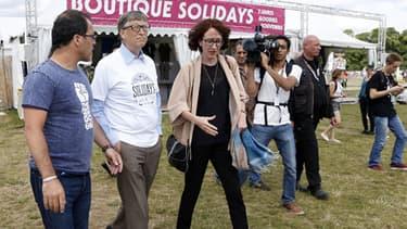 Bill Gates visite le site du festival Solidays à Paris le 27 juin 2014.