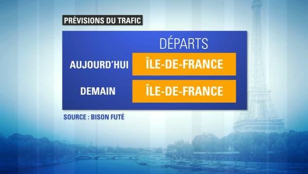 Les routes d'Ile-de-France classées orange dans le sens des départs.