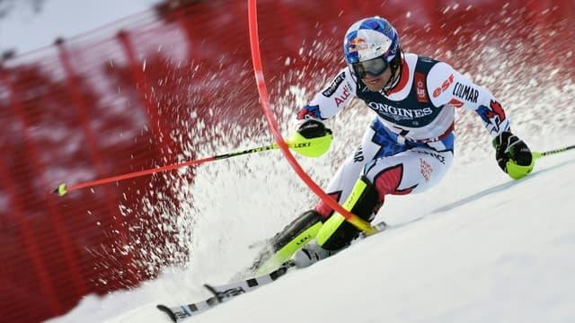 Le Français Alexis Pinturault, lors du slalom du combiné aux Championnats du monde, le 11 février 2019 à Are (Suède)