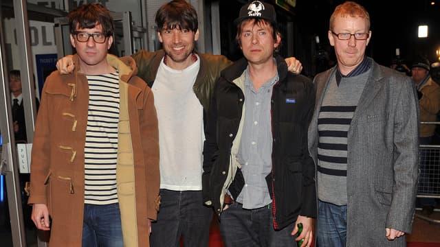 Graham Coxon , Alex James, Damon Albarn et Dave Rowntree, du groupe Blur.
