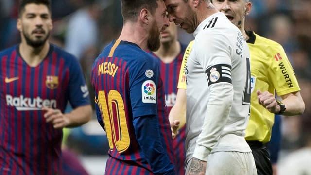 Lionel Messi (Barça) et Sergio Ramos (Real Madrid)