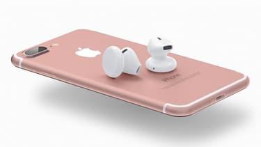 Un concept de ce que pourrait être l'iPhone 7 et ses écouteurs Bluetooth.