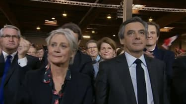 François et Penelope Fillon lors de l'ouverture du meeting.