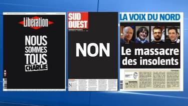 La presse rend un hommage unanime à Charlie Hebdo, jeudi 8 janvier 2015.