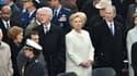 Hillary Clinton entourée de son époux Bill, et des couples Carter et Bush, lors de la cérémonie d'investiture de Donald Trump, le 20 janvier 2017, à Washington.