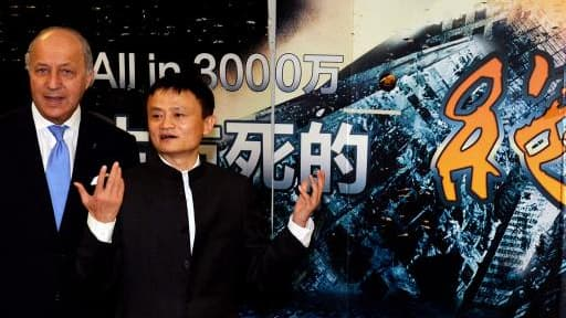 Laurent Fabius et le président d'Alibaba, Jack Ma.
