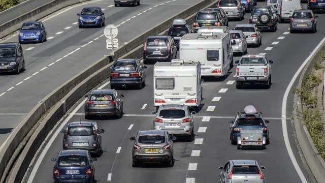 Un embouteillage sur l'autoroute A7 (image d'illustration).