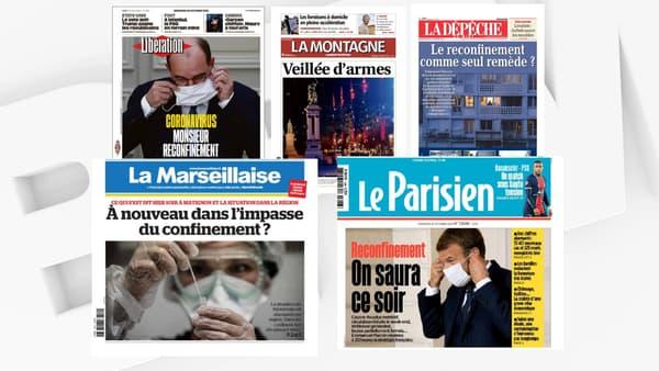 Les unes de plusieurs journaux nationaux et régionaux, le 28 octobre 2020.