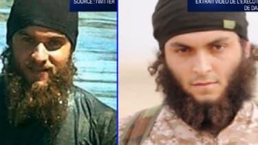 A gauche, Mickaël Dos Santos en Syrie, dans une photo qu'il a posté sur les réseaux sociaux. A droite, le jihadiste bourreau, qui serait Mickaël selon le parquet.