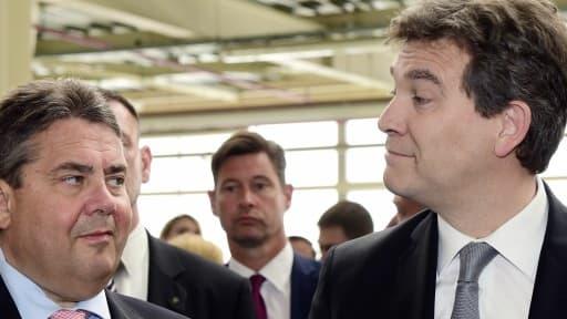 Arnaud Montebourg et son homologue allemand, Sigmar Gabriel, ont effectué uune visite sur le site d'Airbus à Toulouse.