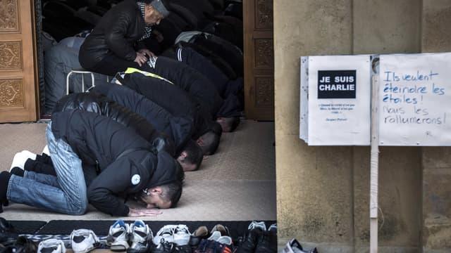"""Une pancarte """"Je suis Charlie"""" était disposée à l'entrée de la mosquée de Saint-Etienne vendredi à l'heure de la prière."""
