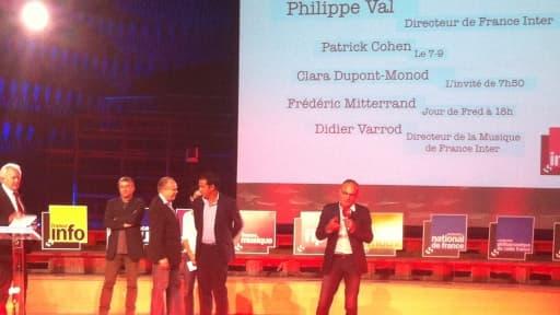 Jean-Luc Hees, Didier Varrod, Frédéric Mitterrand, Patrick Cohen et Philippe Val lors de la conférence de rentrée
