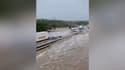 Véhicules coincés sur l'A9 inondée ce jeudi 14 septembre 2021 dans le Gard