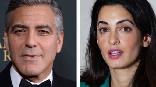 L'acteur George Clooney et sa fiancée, l'avocate Amal Alamuddin.