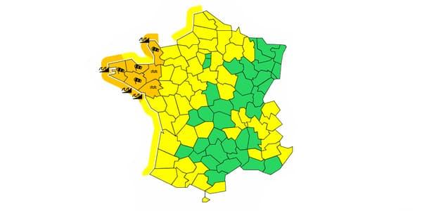 Six départements du Nord-Ouest sont en alerte orange.