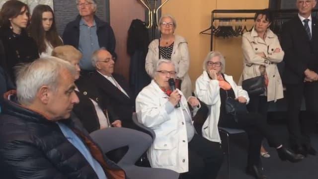 Christiane Cabalé, ancienne résistante, prend la parole lors de l'hommage aux déportés à Saint-Nazaire, le 30 avril 2017.