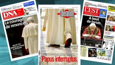 Quelques unes du jour, titrant sur la démission du pape.
