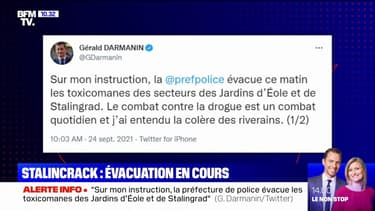 Paris: Darmanin annonce avoir demandé l'évacuation ce vendredi matin des toxicomanes des jardins d'Eole et de Stalingrad