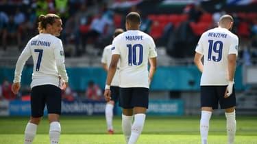 Les attaquants français Antoine Griezmann, Kylian Mbappé et Karim Benzema, face à la Hongrie, lors de la 2e journée du groupe F, le 19 juin 2021 à Budapest