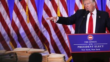 Donald Trump pendant sa conférence de presse, le 11 janvier 2017.