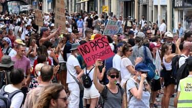 Manifestation anti-pass sanitaire à Montpellier le 31 juillet 2021