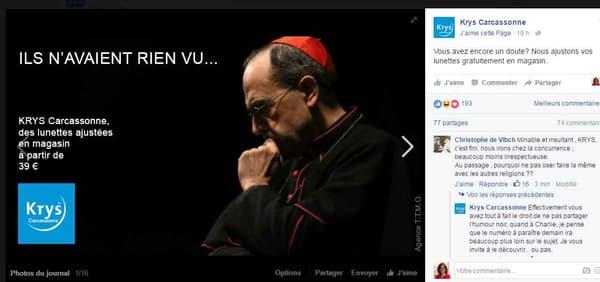 Capture d'écran du compte Facebook Krys Carcassonne, prise par le site 20 minutes.
