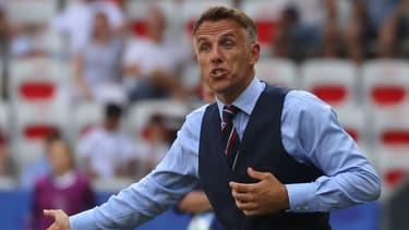 Phil Neville, sélectionneur de l'équipe nationale féminine d'Angleterre, à Nice le 6 juillet 2019