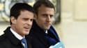 Manuel Valls et Emmanuel Macron à l'Elysée le 9 mars 2016.