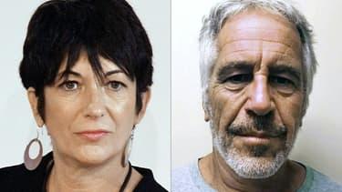 Montage de deux photos réalisé le 2 juillet 2020:  Ghislaine Maxwell, le 20 septembre 2013 à New York, et  Jeffrey Epstein, transmise le 11 juillet 2019 par le registre des délinquants sexuels de l'Etat de New York