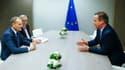 Donald Tusk (à gauche), Jean-Claude Juncker et David Cameron