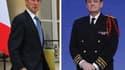"""Claude Guéant (à gauche) a décidé de poursuivre en diffamation Bruno Le Roux, porte-parole du candidat socialiste François Hollande, pour l'avoir mis en cause dans l'enquête truquée de la """"police des polices"""". Le préfet de police de Paris, Michel Gaudin ("""