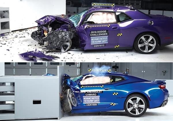 Les modèles ont été soumis à rude épreuve, et le Challenger est celui qui obtient la plus mauvaise évaluation de l'IIHS.