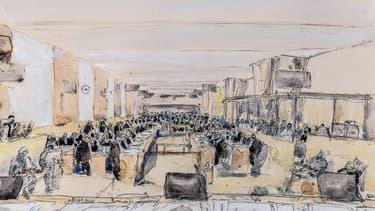 La salle d'audience du procès des attentats du 13-Novembre.