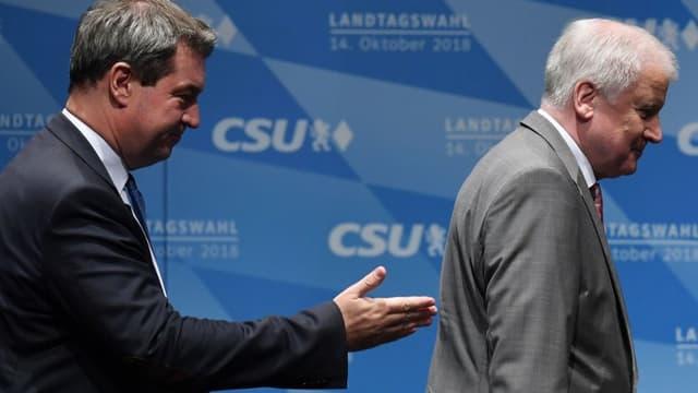 Le ministre président de la Bavière Markus Söder et le ministre de l'Intérieur Ernst Seehofer en campagne pour la CSU pour les élections régionales