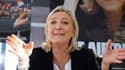 Marine Le Pen  à Sablé-sur-Sarthe lors d'une conférence de presse le 10 février. La présidente du FN enchaîne les déplacements en vue des élections européennes.