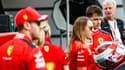 Charles Leclerc derrière Sebastian Vettel