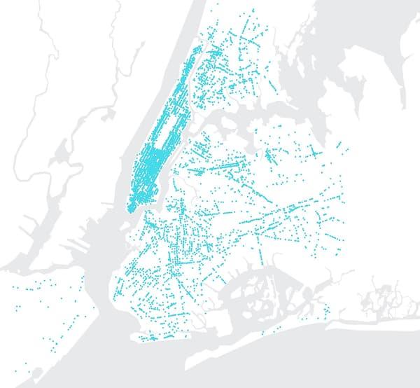 Couverture de la ville de New York avec les bornes LinkNYC, de première génération.