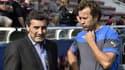 Mohed Altrad, à gauche, s'entretient avec Fabien Galthié